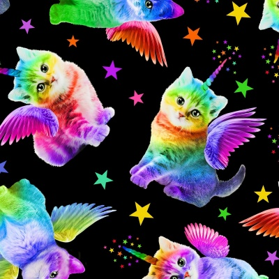 Rainbow Unicorn Cats Black Cotton