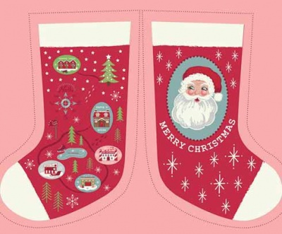 Red North Pole Stocking & Envelope Panel