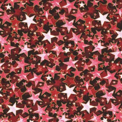 Metallic Star Red Cotton