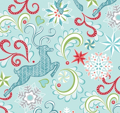 Nordic Reindeer Light Blue Cotton