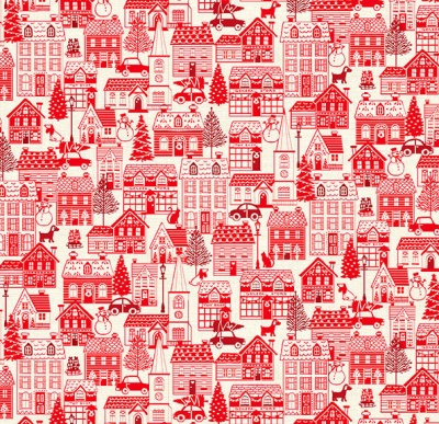 Scandi 2019 Houses Red Cotton