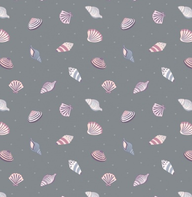 Shells On Dark Grey Cotton