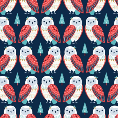Skogen Owls Navy Cotton