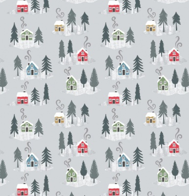 Snow Day Houses On Silver Metallic Cotton
