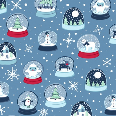 Snow Globes Blue Cotton