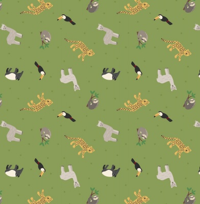 South American Animals on Rainforest Green Cotton