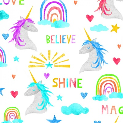 Sparkle Magic Unicorn White Cotton