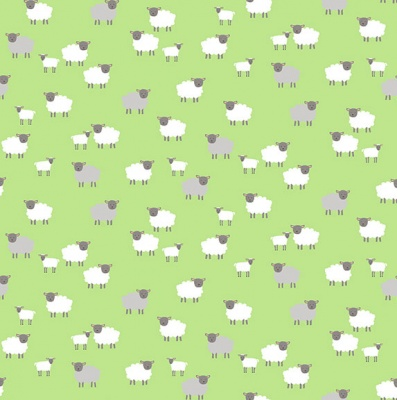 Spring Sheep Green Cotton