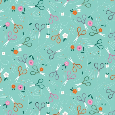 Stitch Scissors Teal Cotton