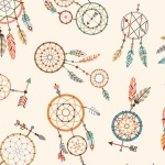 Camp Along Critters Cream Dream Catchers Cotton