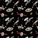 Spaceships Glow In The Dark Cotton