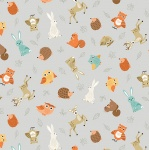 Forest Animal Scatter Grey Cotton