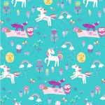 Unicorn Magic Magical Forest Aqua Cotton Pearlescent