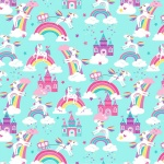 Unicorn Magic Unicorn Dreams Aqua Cotton Pearlescent