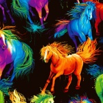 Black Horses Digitally Printed Cotton
