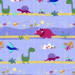 Dino World Blue Dinosaur Park Cotton