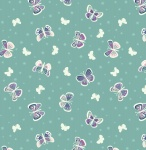 Fairy Nights Butterfly Glow on Teal Cotton