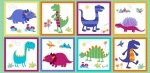 Dino World Multi Panel Cotton