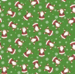 Double Decker Santa Green Cotton