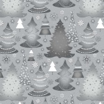 Elegant Christmas Trees Silver Metallic Cotton