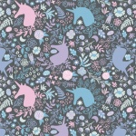 Enchantment Unicorns Magic Charcoal Cotton