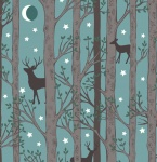 Nighttime in Bluebell Forest Deer Blue Cotton