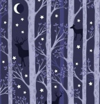 Nighttime in Bluebell Forest Deer Midnight Blue Cotton