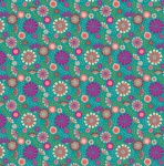 Forest Frolic Small Floral Teal Cotton