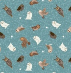 Nighttime in Bluebell Glow Owls on Blue Cotton
