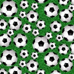Green Tossed Soccer Balls Cotton