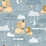 Little Lion Blue Be Brave Cotton