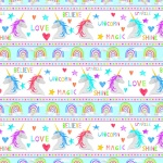 Sparkle Magic Unicorn Stripe Cotton