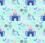Mermaid Kitties Castles Aqua Cotton