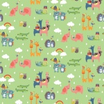RB Noah's Ark Two By Two Green Cotton