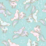 Unicorn Sparkle Turquoise Prancing Unicorns Glitter Cotton