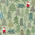 Santa's Tree on Pale Green Cotton