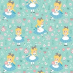 Disney's Alice in Wonderland In a World of My Own Turquoise Cotton