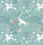Fairy Nights Unicorn Meadow on Soft Teal Cotton