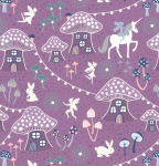 Fairy Nights Mushroom Vilage on Blackberry Cotton