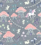 Fairy Nights Mushroom Vilage on Dusky Grey Cotton