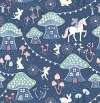 Fairy Nights Mushroom Vilage on Midnight Blue Cotton