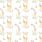 White Sweet Giraffes Cotton