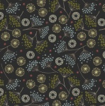 New Forest Winter winter Floral on Black Cotton
