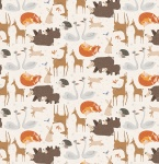 Winterland Forest Animals Cream Cotton