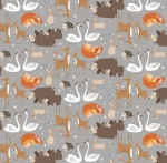 Winterland Forest Animals Grey Cotton