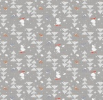 Winterland Forest Trees Grey Cotton