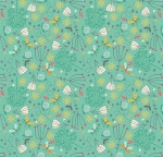 Walk In The Park Flowers Turquoise Cotton