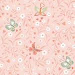 Woodland Tea Time Floral Butterflies Pink Cotton