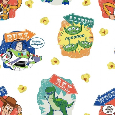 Toy Story Badges White Cotton