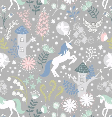 Fairy Lights Unicorn Forest Grey Cotton